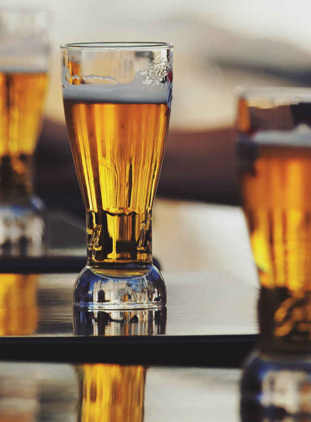 Beer in tall flight glass