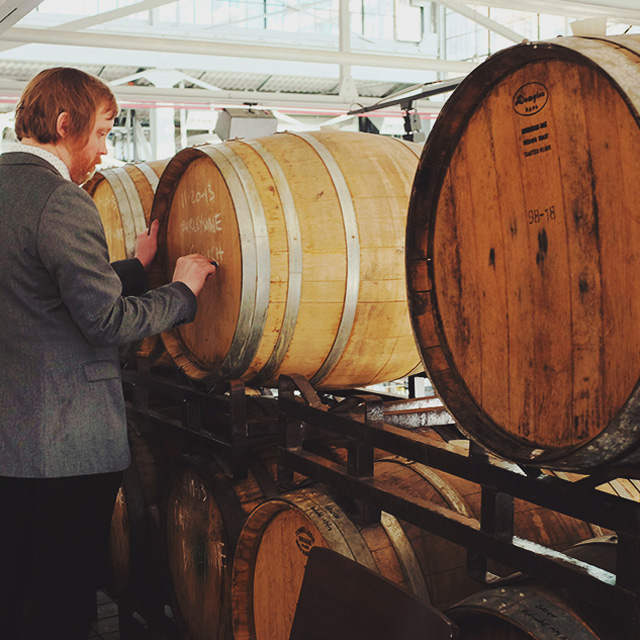 Greg Engert, Beer Director at BlueJacket with beer barrels being arranged for a tasting event in the Yards DC