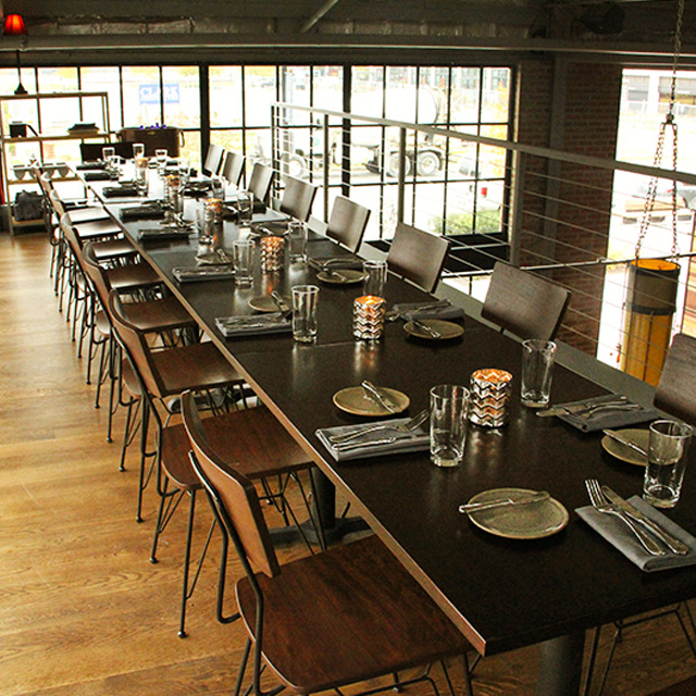 Blue jacket brewery interior with loft seating for large parties