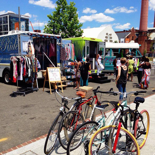 Women's boutique pop-up shopping event outside at the Yards DC