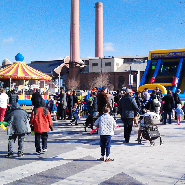 Family friendly New Years Eve event at the Yards DC with a carousel and bounce house