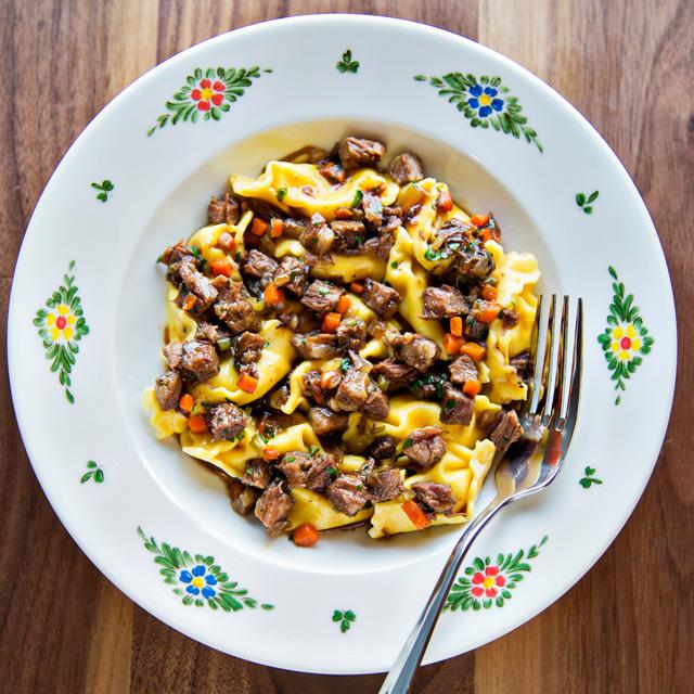 Fresh pasta in bowl