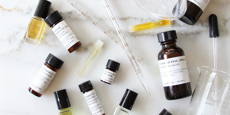 Botanical and essential oils provided for a crafting workshop at the Yards DC