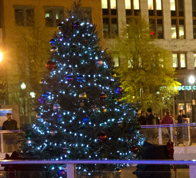Christmas tree lit up on the Riverfront