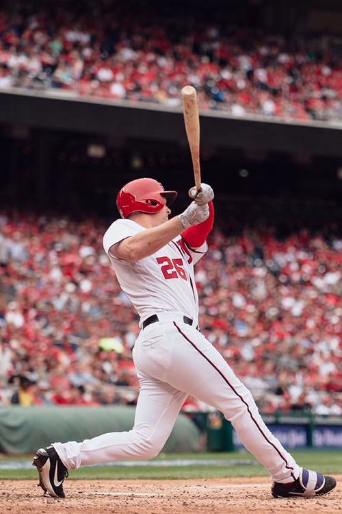 Trevor Gott hitting the ball during a home game in Nationals Park