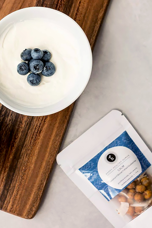 Blueberries with yogurt and nuts from Happy Healthy Human