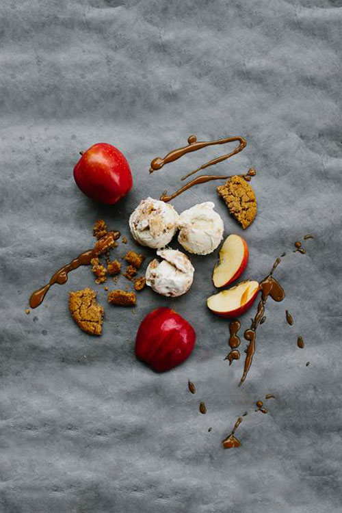 Apple, caramel, and gingerbread fall flavored ice cream scoops