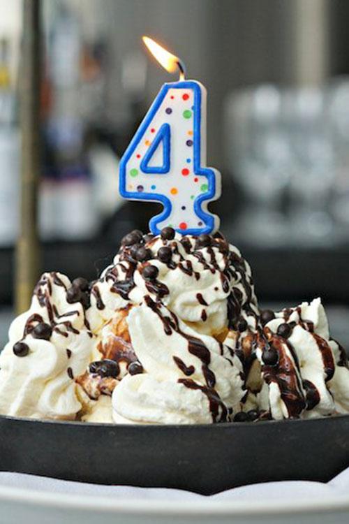 Ice Cream sundae for a 4th birthday or anniversary celebration