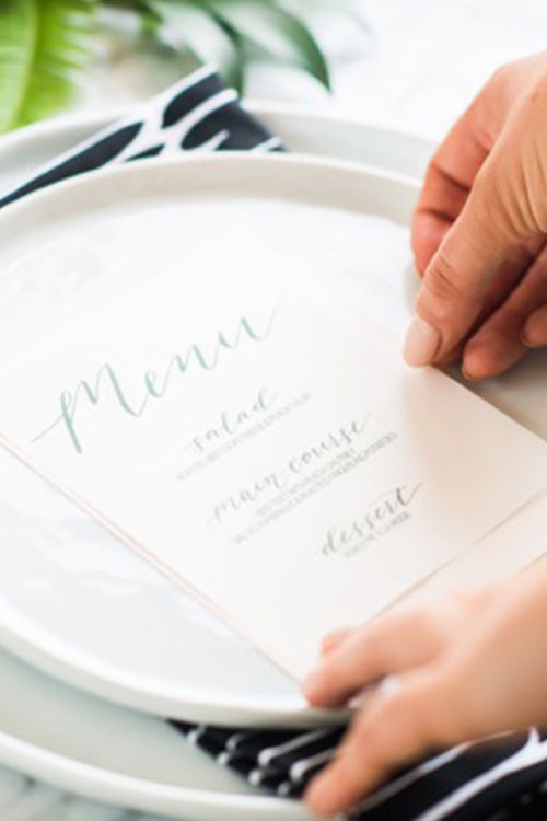 Handlettered menu from an artistic class in DC