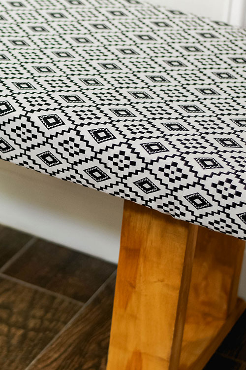 Patterned bench created by hand in a crafting workshop