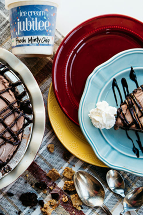 Ice cream and chocolate pies for dessert to celebrate Veterans day