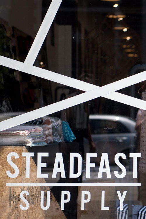 Steadfast Supply storefront window
