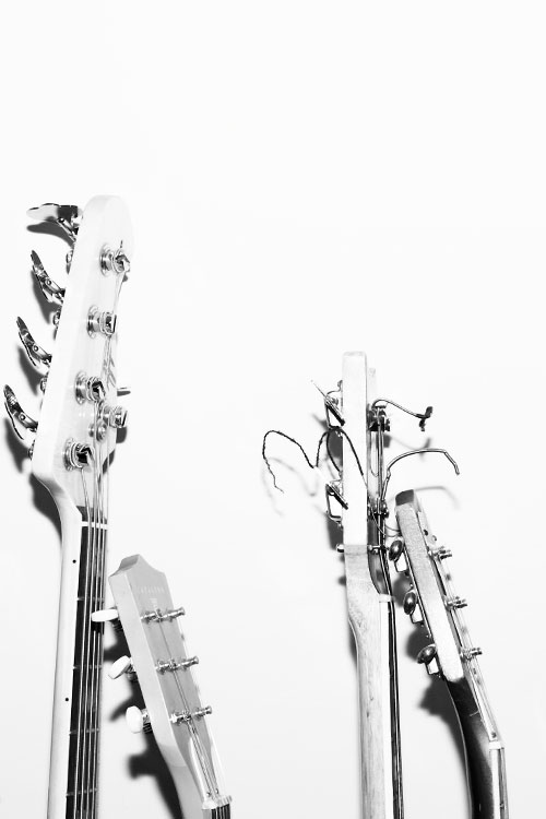 Black and white photo of guitars