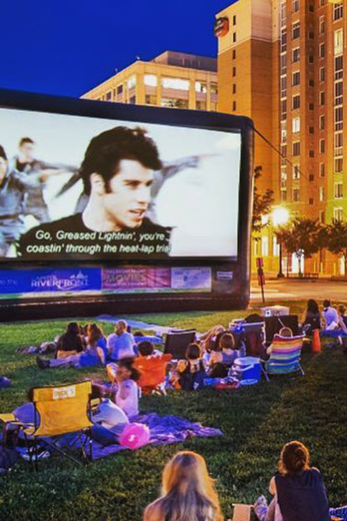 Outdoor movie screening of Grease in the summertime in DC