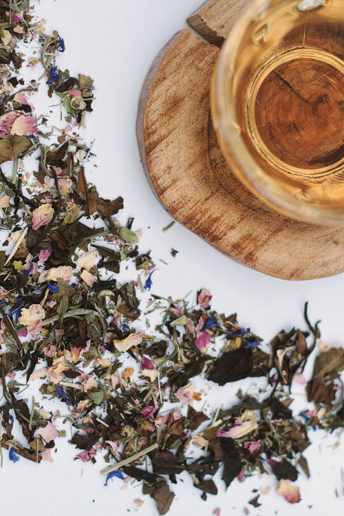 Dried tea flowers at a sampling event in DC