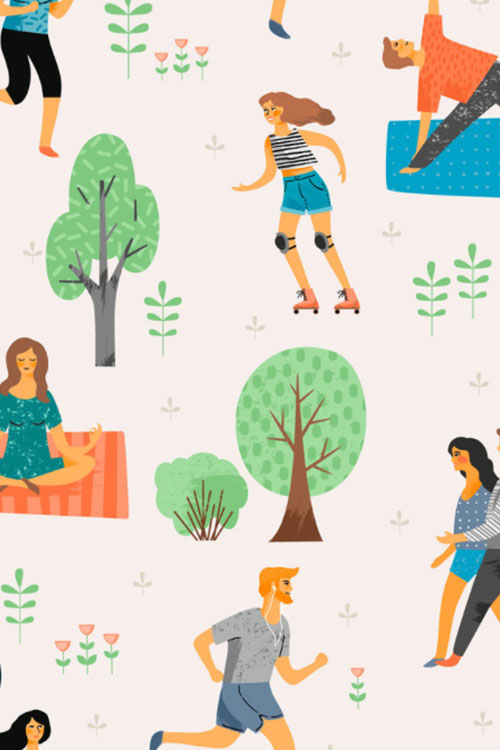 Illustration of people participating in outdoor wellness activities