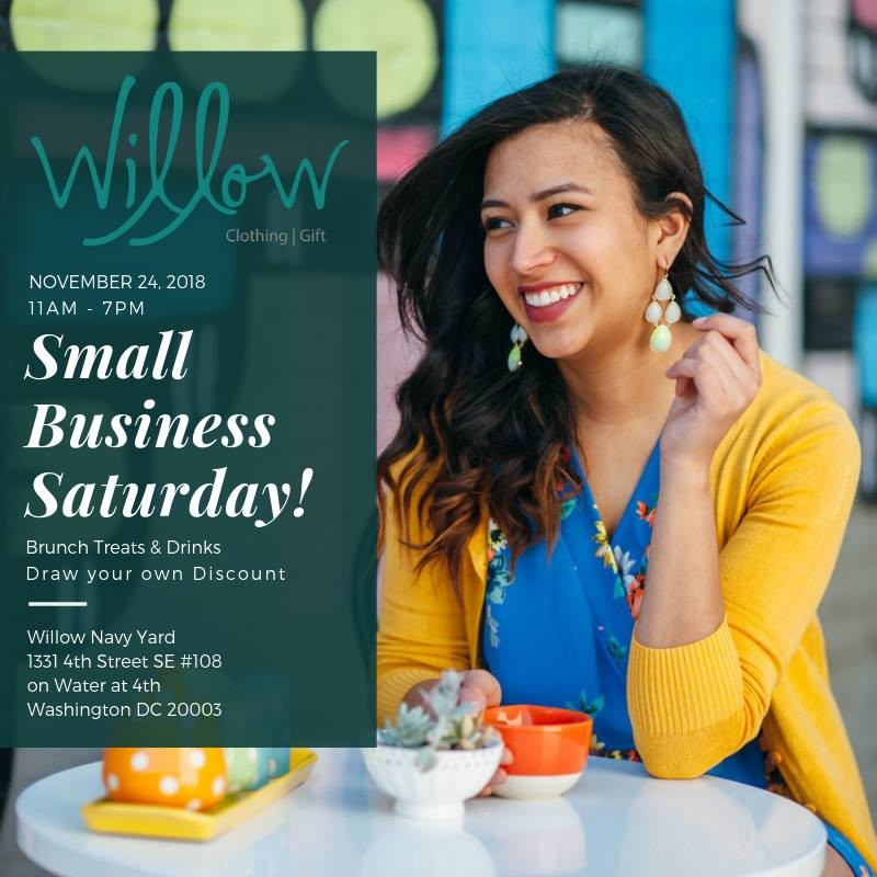 Flyer for Willow's Small Business Saturday sale