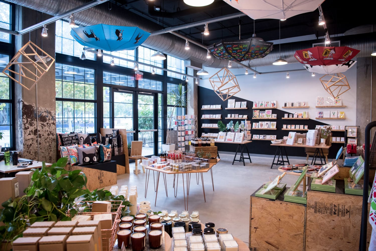 Modern Interior of Steadfast Supply store with wood accents and plants