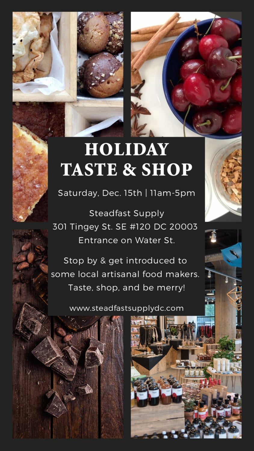 Flyer for Holiday taste and shop at Steadfast Supply
