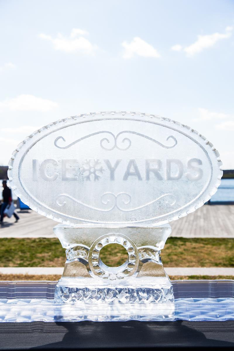 Ice sculpture with the Yards logo