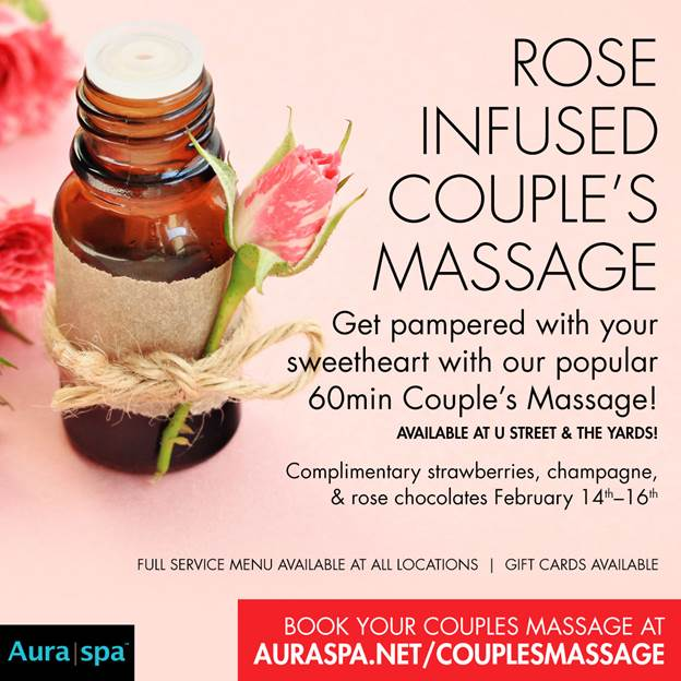 Flyer for rose infused couple's massage at Aura spa