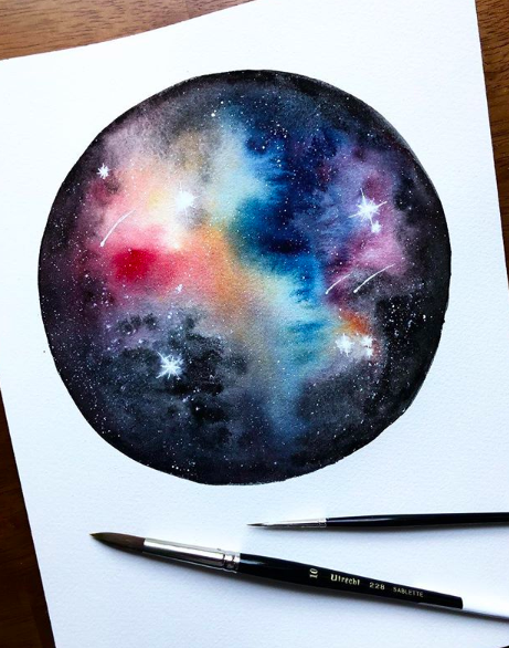 Watercolor of the galaxy with pens