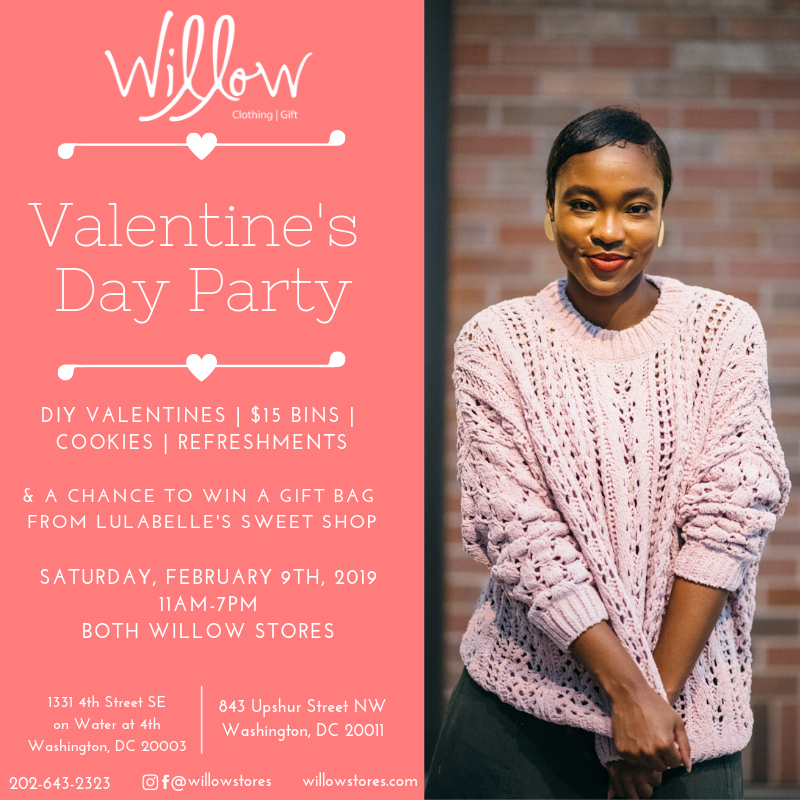 Flyer for Willow's Valentine's Day party