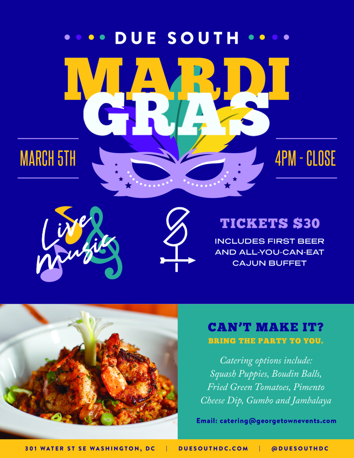 Flyer for Due South's Mardi Gras event with live music, buffet, and live music