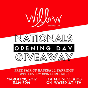 Ad for Willow's Nationals Opening Day giveaway