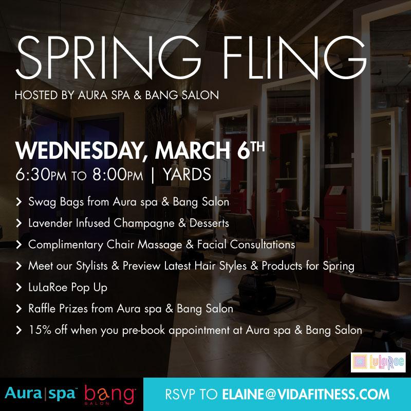 Flyer for Aura Spa's Spring Fling