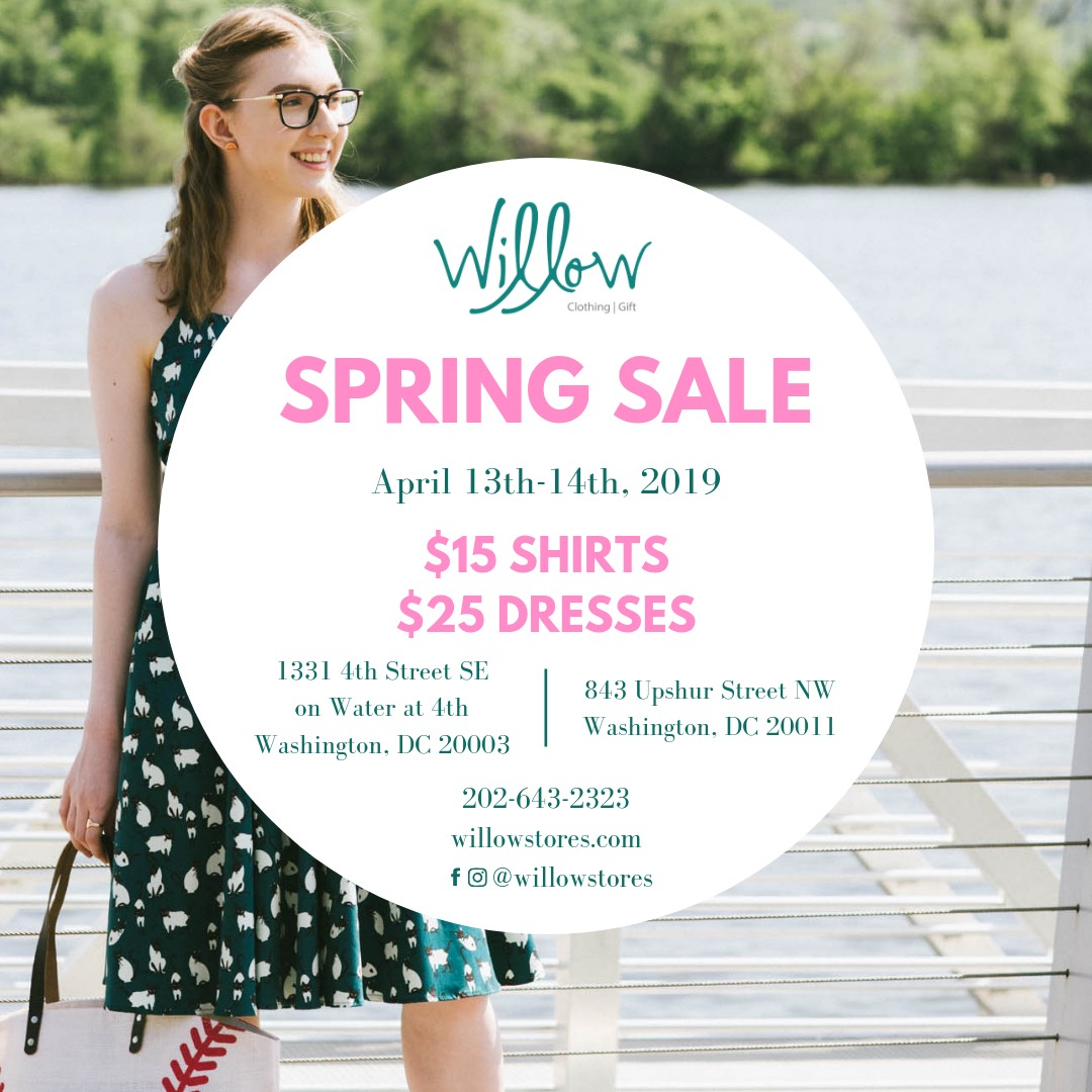 Flyer for Willow's Spring sale, April 13-14 2019