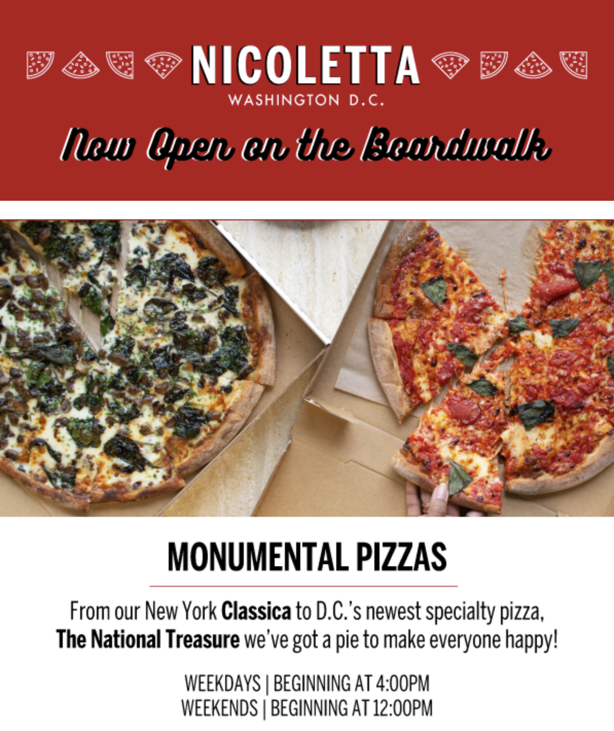 Nicoletta offers pizzas from the New York Classica to DC's newest specialty pizza, The National Treasure