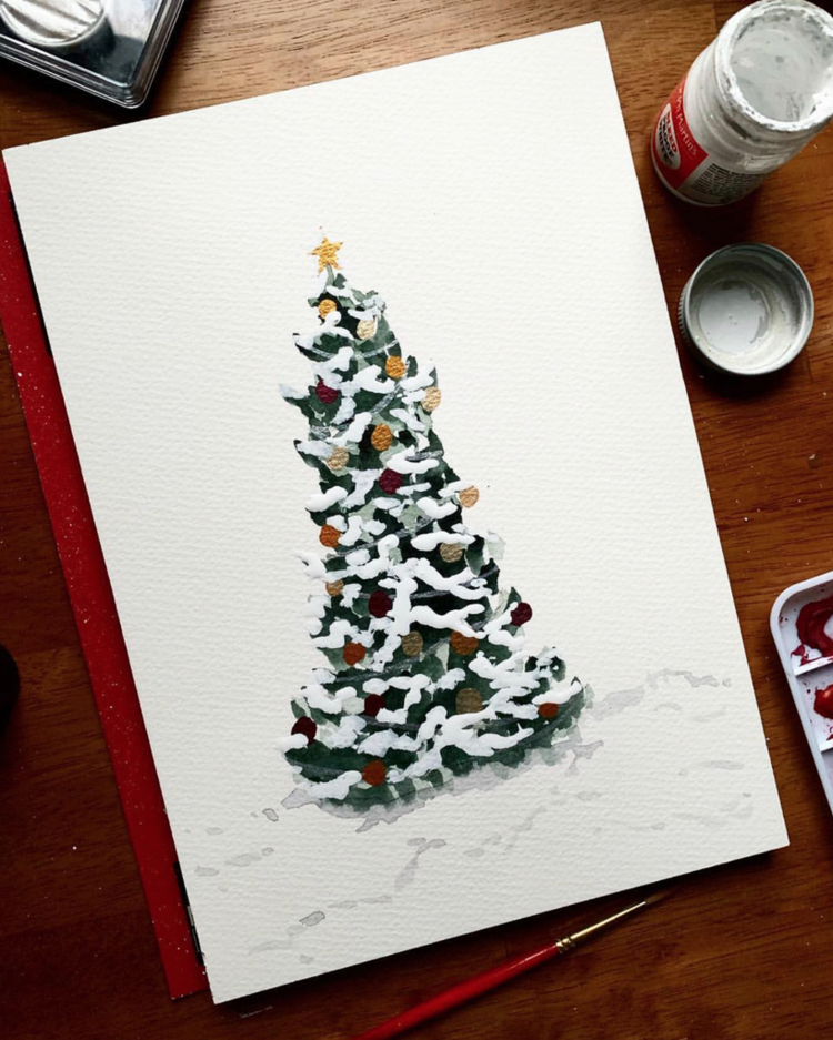 Paint Christmas tree holiday card