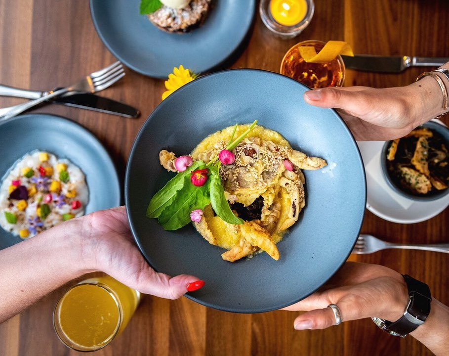 Plates of bright, fresh food