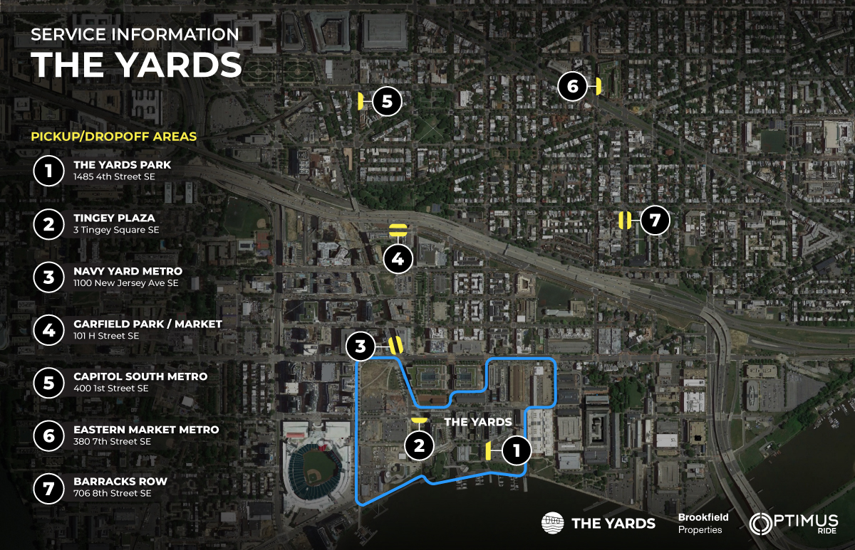 Map of Optimus Ride route at The Yards.
